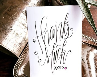 Thank You Card // Hand Lettered Calligraphy // Hugs and Kisses // Gratitude // Thank You