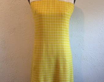 Vintage 60s mod yellow checkered dress
