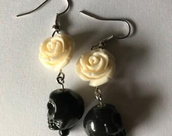 Black Skull and White Rose Dangle Earrings