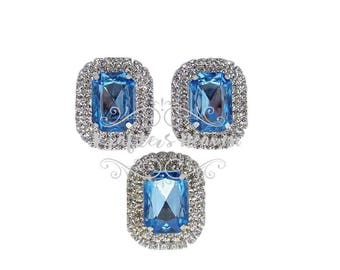Blue Pearl Rhinestone~Pearls~Wedding Brooch Bouquet~Crystal Flower~Crystals~Jewelry Supplies~DIY Supplies~DIY Headbands~Craft Supplies~