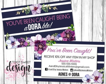 You've Been Caught Being aDORAble Business Card, Agnes and Dora Custom business card, coupon certificate giveaway, purple floral PRINTABLE
