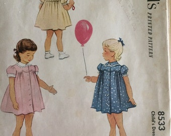 McCall's 8533 Vintage 1950's Girl Full Dress Scallop Puff Sleeve Sewing Pattern Easter Dress Size 3