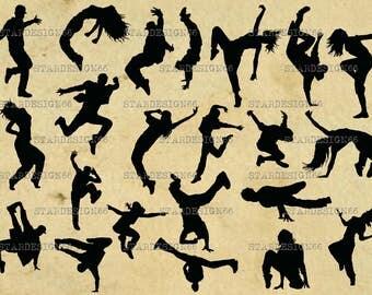 Digital SVG PNG JPG Breakdancers, hip hop dancers, women, men, dance, silhouette, clipart, vector, instant download