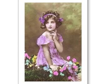 Personalised Handmade Greetings Card ~ Vintage Postcard of A Child # 18
