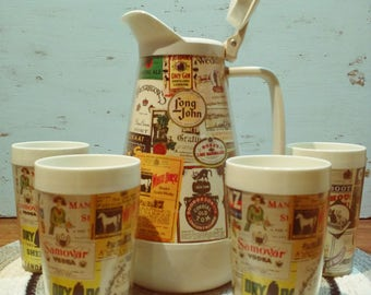 Vintage Retro 1960s insulated Pitcher and Tumblers with Liquor Label Design, Barware, Drinkware