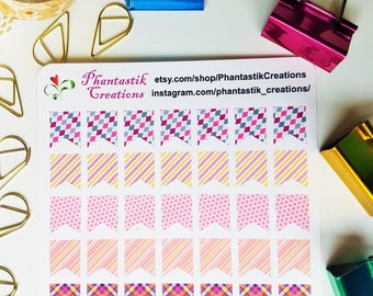 Pink Patterns Planner Flags Stickers
