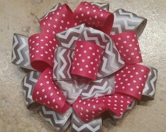 Pink and grey chevron polka dot Hair Bow