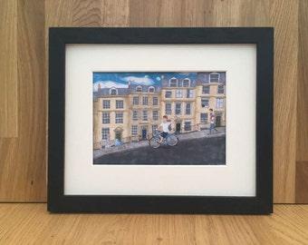 Cycling down a hill in Bath city, 5x7 giclee print