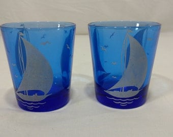 vintage Hazel Atlas retro cobalt sportsman series sailboat glasses