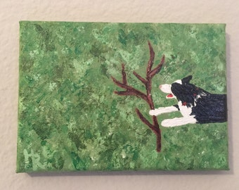 Border Collie with Stick Painting