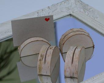 Set of 10 place card holder , name tag holder, birch table number holder, rustic wedding decor, woodland wedding decor, menu holder, favors