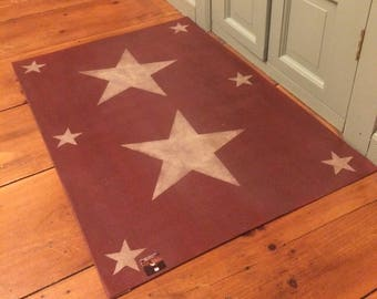 Barn Red Primitive Country Star Floor Cloth Canvas floorcloth