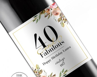 Birthday Wine Labels, Forty and Fabulous, 40th Birthday, Wine Lovers Gift, Custom Birthday Gift, Birthday Wine Labels, 50th Birthday,170