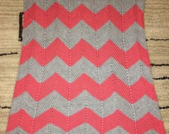 Hand Knit Chevron Baby Blanket