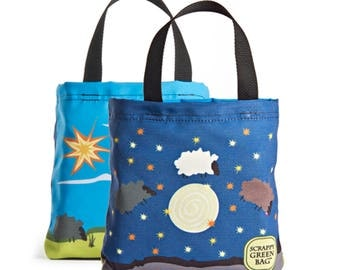 Reuseable Lunch Bag - Mini Tote - Recycled Materials - Washable - Eco-Friendly - Day Sheep/night Sheep