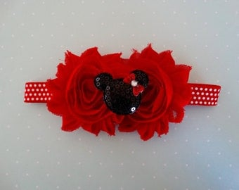 Minnie inspired Headband, Red and White Polka Dot, Shabby Flower, Baby Headband, Red Headband