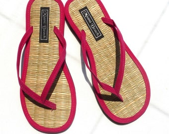 Flip-Flops of rice straw with thong pink fuchsia velvet (4.5-9.5)