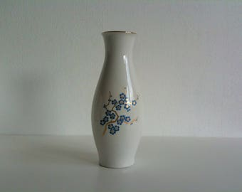 Beautiful vase, porcelain, ivory, blue, branch, newer porcelain, gold, Germany