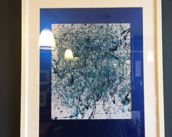 Framed blue abstract painting