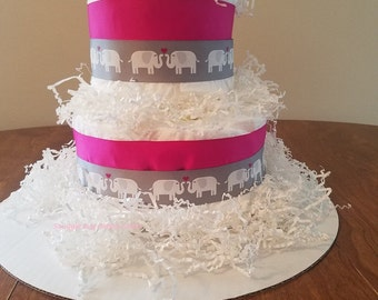 Pink Elephant Two Tier Diaper Cake