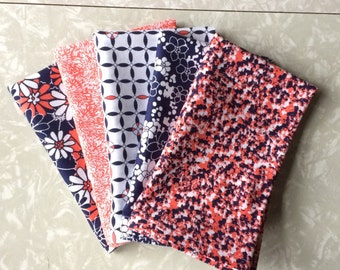 Set of 5 Navy, White, and Coral Cloth Napkins