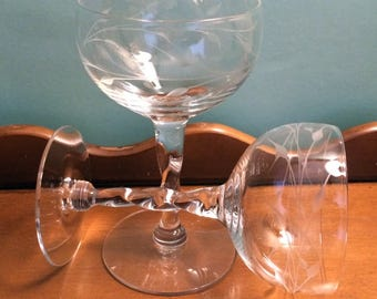 12  petite etched wine glasses