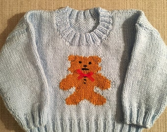 3-6 Month Knitted Teddy Bear Jumper