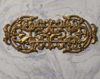 Vintage French Filigree Bracelet Link Gold Toned Thick Raw Brass Stamping 1 Piece 351J