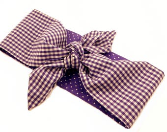 Double sided 2 in 1 dolly bow headband Polka Dots purple white gingham top knot headband check bow hair scarf Rockabilly purple squares