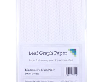 A4 Graph Paper Pack, 1cm 10mm Isometric, 30 Loose-Leaf Sheets, Grey Grid Lines