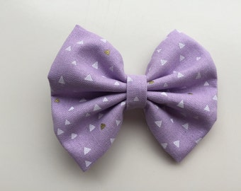 Purple Triangles fabric hair bow or bow tie