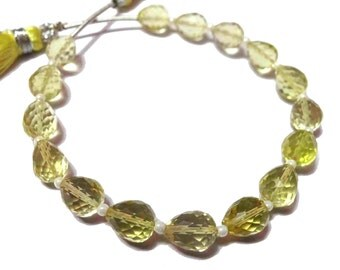 AAA Grade LEMON QUARTZ Straight Drilled Tear Drops Faceted Briolette Beads, Size 5*7 mm, 6 inches Strand Length,Superb for earrings