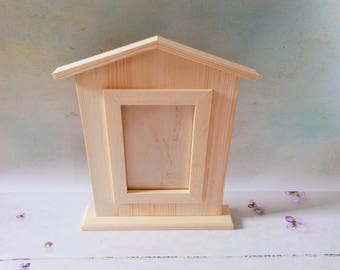 Unfinised Wooden Frame, Housewarming Gift, Our New Home Gift, House Shaped Picture Frame, Picture Frame for Woodburning, Decoupage Frame