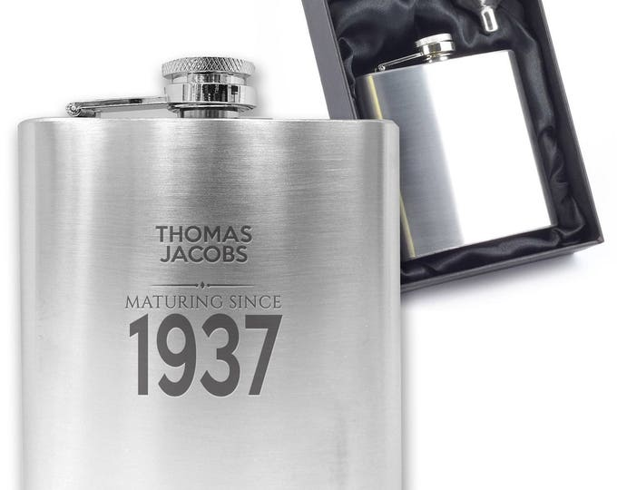 Personalised engraved 80TH BIRTHDAY hip flask gift idea, stainless steel, presentation box, maturing since 1937 - MA80