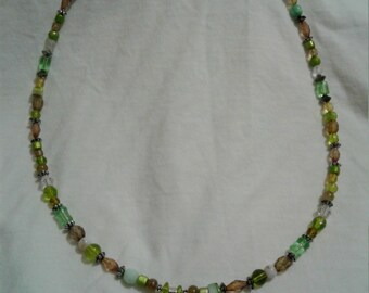 Brown and Green Necklace with Camo Deer Charm