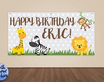 Jungle Happy Birthday Banner - Personalized Zoo Photo Backdrop - Custom Safari Birthday Banner Sign - Monkey Lion Birthday Vinyl Backdrop