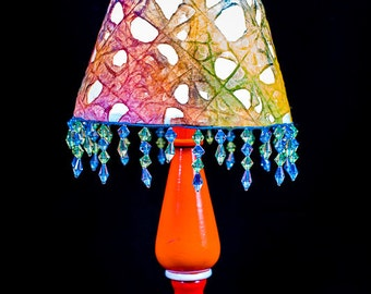 Upcycled Red/Orange Table Lamp w/Handmade Paper Lampshade with Beads