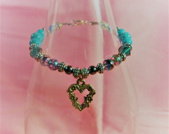 Gothic Heart Charm Bracelet