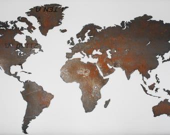 Worldmap made of weathering steel 2x1m