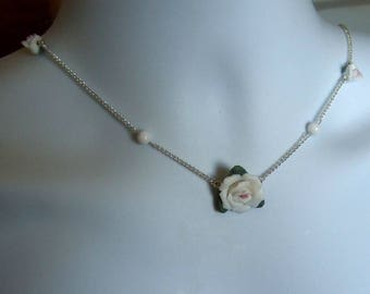 White Rose Flower Bead Necklace.