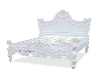 "French Style Rococo ""Royal Carved"" White California King Bed"