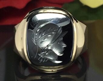 Roman soldier 10k solid gold ring Hematite Intaglio mens ring - Men Gold Ring - Men Pinky Ring - Cool Men Ring - Men Vintage Ring