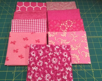 9 Fat Quarters Pink Coordinated Colors