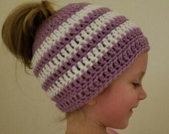 Striped ponytail hat