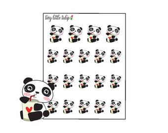 Planner Stickers Panda Drinking Coffee Stickers