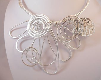 Silver wire statement necklace.Unique wearable art.Modern and Abstract.Funky.All occasion necklace.