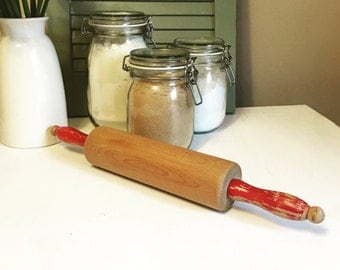 Vintage 1950's Wooden Rolling Pin with red chippy paint handles