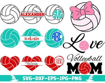 Volleyball SVG Cut Files Volleyball svg love Volleyball Monogram Frames Volleyball Mom Design cut files for Silhouette cut files for Cricut