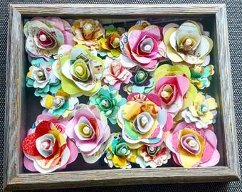 Framed paper flower art