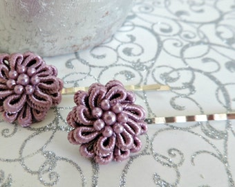Set Of 2 Dusty Purple Bridal Flower Bobby Pins For Hair Wedding Embellishments Accessories Barrettes 25mm or 1 Inch Size.